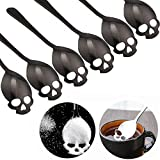 304 Stainless Steel Skull Sugar Spoon Dessert,Tea ,Coffee Stirring Spoon Set of 6 (Black)