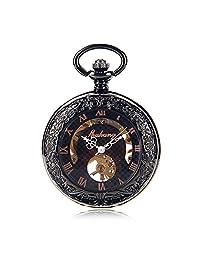 New men's automatic mechanical pocket watch Roman digital dial hollow mechanical watch