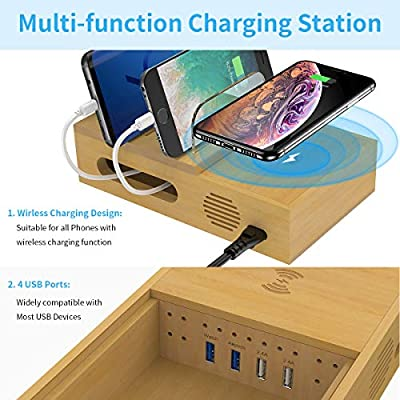 Charging Station for Multiple Devices, GPED 5 in1 Fast Charging Station Organizer, 4 USB Port, 1 Qi Wireless Charging Pad, Wood USB Docking Station for Apple Watch/iPhone/Airpods/Android
