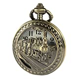 SIBOSUN Antique Men Pocket Watch With Chain Bronze Case 3D Locomotive Steam Train Railroad Hollow + Box