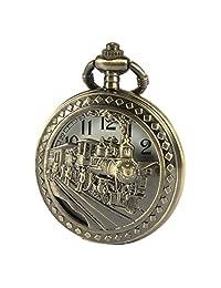 SIBOSUN Men Pocket Watch 3D Locomotive Steam Train Railroad Antique Bronze Hollow Case With Chain + Box