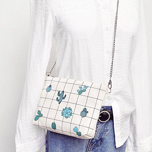 Domybest à de Sacs Imprimé Chaîne blanc avec Bandoulière à Bandoulière Coque en Femme Sac Toile Hanche de Fille AAFrqwZgx