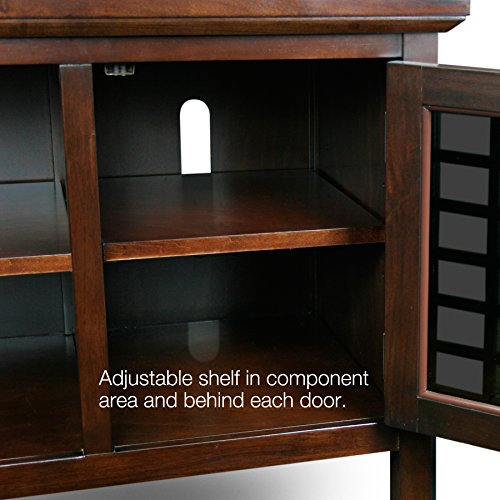 leick 50 inch wide tv stand with black glass chocolate cherry 11street malaysia media. Black Bedroom Furniture Sets. Home Design Ideas