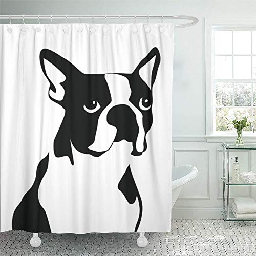 (PAUSEBOLL Dog Boston Terrier Black White Puppy Shelter Animal Companion Pet Shower Curtain Bathroom with Hooks,Waterproof Polyester Curtain)