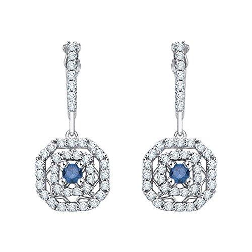 14K White Gold 1/2 ct. Diamond Fashion Earrings with Blue Center Diamond