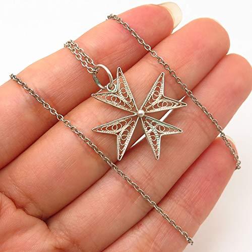 925 Sterling Silver Vintage Filigree Maltese Cross Pendant Chain Necklace 16