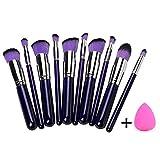 Aoohe Style Master Makeup Brush Set Cosmetics Foundation Blending Blush Eyeliner Face Powder Brush Kabuki (Purple)