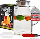 Glass Water Pitcher with TIGHT Lid 68 ounces, THICKER Heat Resistant Borosilicate Glass Carafe with FREE Brush (in Christmas Ready Packaging) by Pykal