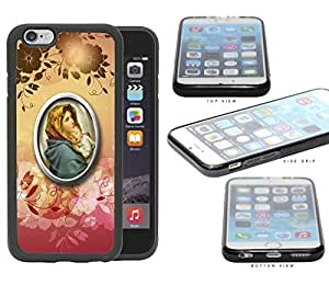 Religious Virgin Mary with Floral Design iPhone 6 (4.7) INCH SCREEN Rubber Silicone TPU Cell Phone Case