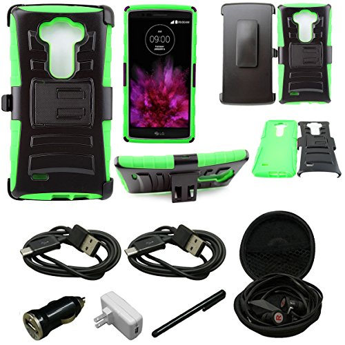 - Mstechcorp - For LG LS770 Stylus /G Stylo, Belt Clip Holster Case Cover Dual Layer Hybrid Armor Protector - Belt Clip Holster Cover with Kickstand and Locking Swivel Belt Clip Case - Includes Wall Charger + Car Charger+ 2 Data Cable + Touch Screen Stylus + Hands Free Earphone With Carrying Case (H GREEN)