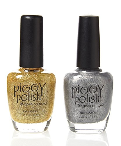 Piggy Polish Gold Glitter and Silver Shimmer, Glittery, Fun Nail Polish 2 Pack, Health Ingredients, Cruelty Free.5 oz Bottles
