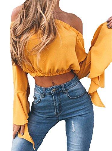 longues Col paule vas court sexy shirt Manches Bateau nu Jaune Casual Chic Mode t dos haut top YOGLY Femme xw8Fvv