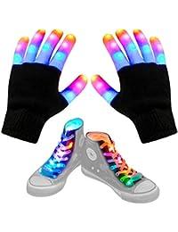 Led Finger Gloves, Led Gloves LED Shoelaces Set Light Up Toys for Boys Girls, Flashing Gloves for Christmas Thanksgiving Birthday Glow Halloween Costume Party
