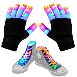 Aywewii Led Finger Gloves, Led Gloves LED Shoelaces Set Light Up Toys for Boys Girls, Flashing Gloves