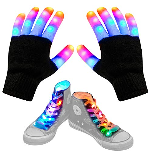 Aywewii LED Gloves for Kids Flashing Finger Light Up Gloves LED Shoelaces Set, LED Warm Gloves Kids Toys (Black)