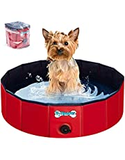 V-HANVER Foldable Dog Pool Hard Plastic Collapsible Pet Bath Tub for Puppy Small Dogs Cats and Kids, 32 X 8 inch