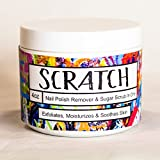 Scratch Sugar Scrub & Nail Polish Remover in One, Exfoliates, Moisturizes & Soothes Skin While Removing Nail Polish, Healthy Ingredients, 4 oz jar