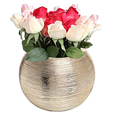 Contemporary Metallic Gold Tone Textured Centerpiece Modern Ceramic Planter Pot / Decorative Flower Vase - MyGift®