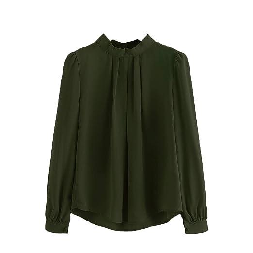 90e093ea4295ac Women Blouse,Wintialy Women Summer Fold Loose Casual Chiffon Long Sleeve  Shirt Tops