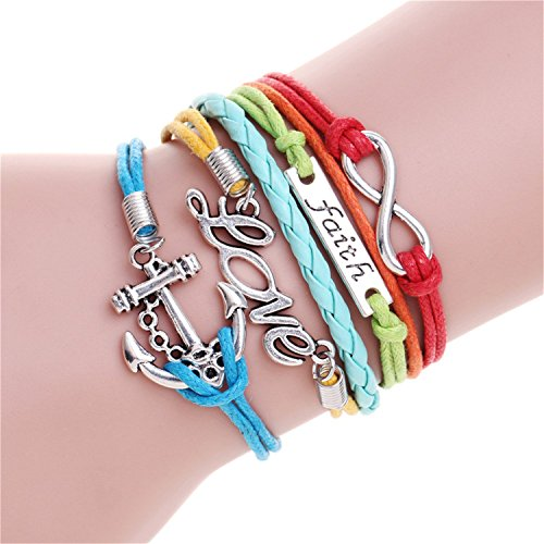 Barry picks Engrave Epigram Charm Leather Bracelet Various Style Butterfly & LOVE & Anchor Charms Wholesale Jewelry,02 (Jewelry Wholesale Leather)