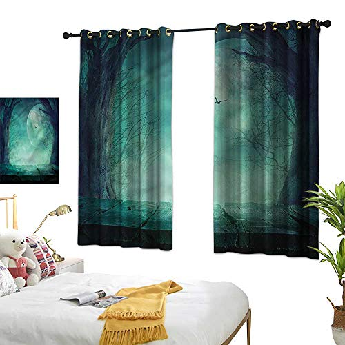 G Idle Sky Bedroom Blackout Curtains Halloween Non-Toxic Curtain Spooky Forest Halloween 63