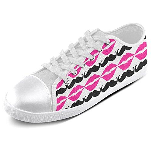 Artsadd Aangepaste Roze En Zwarte Hipster Snor En Lippen Canvas Schoenen Voor Mannen (model016)
