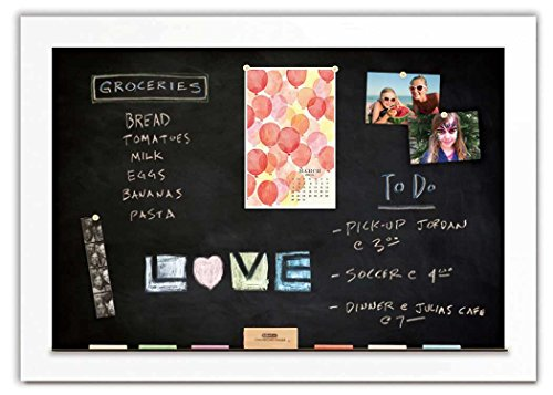 Magnetic Chalkboard with Pearl White Frame by The Cork Board Shop