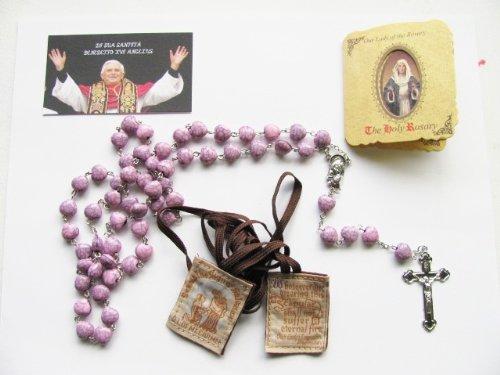 Bienheureux par le Pape Benoît XVI le cancer du sein Ruban Rose crépitée Cœur Rosaire et Scapulaire