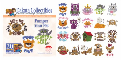 Dakota Collectibles - Pamper Your Pet Multi Format Embroidery Designs CD - 970402 (Designs Dakota Machine Embroidery)