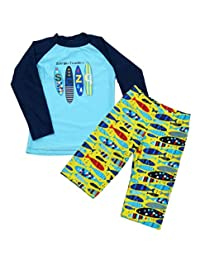 Happy Cherry Boys Rash Gurad Swimsuit Long Sleeve Cartoon Two-Piece Swimwear