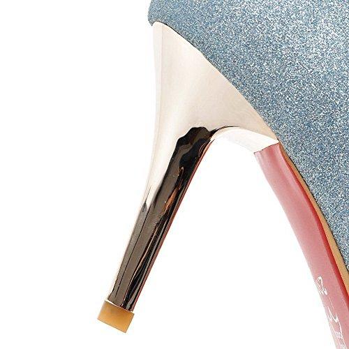 AllhqFashion Mujer Tacón Alto Material Suave Sólido Sin cordones Puntera Cerrada Puntera en Punta De salón Azul