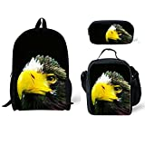 Cheap CHAQLIN American Style Adult Travel Backpack with Eagle Schoolbag Lunch Bag Pencil Bags 3pcs