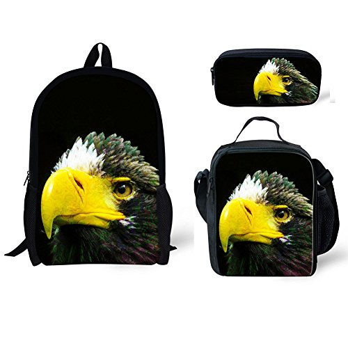 CHAQLIN American Style Adult Travel Backpack with Eagle Schoolbag Lunch Bag Pencil Bags 3pcs