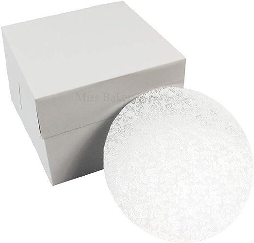 Miss Bakerys House® Caja para tartas con tabla de MDF - 20x20x15 cm - blanco: Amazon.es: Hogar