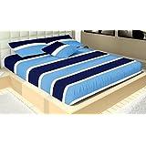 Casa Copenhagen 300 TC Cotton Double Bedsheet with 2 Pillow Covers - Blue and White
