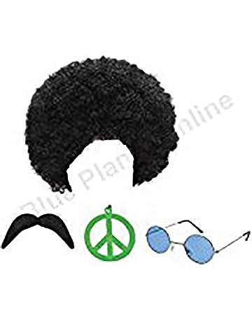 3ce33ec5d6 Hippie Hippy Man 1970s Afro Wig Sunglasses Moustache Fancy Dress