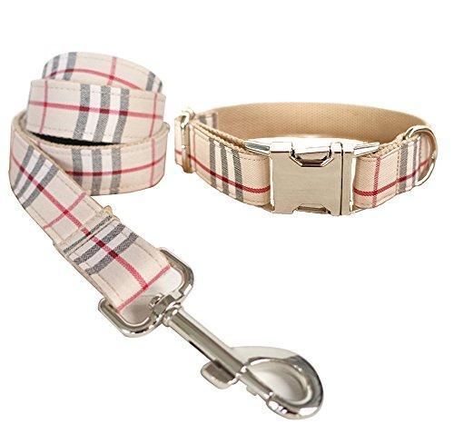 (Rantow Nylon Pet Dog Leash Collar Set, L Collar + M Leash for Dog Walking Training, Classic Scottish Beige Plaid Pattern Designed)