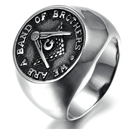 [Stainless Steel Ring for Men, Freemason Ring Gothic Black Band Silver Band 20*20MM Size 8 Epinki] (Parrot Costume Female)