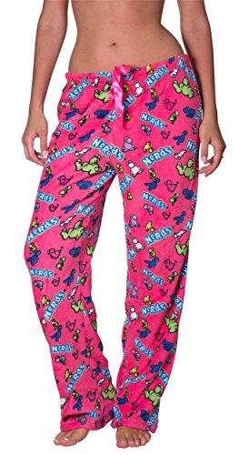 Licensed Women's Warm and Cozy Plush Pajama/Lounge Pants (Large, Nerds)