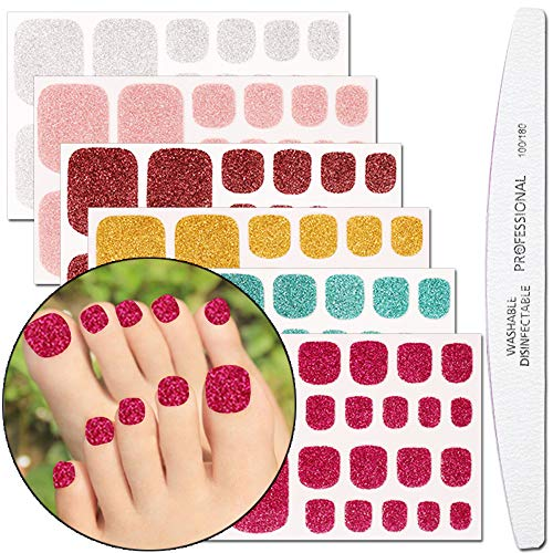 WOKOTO 6 Sheets Adhesive Toenail Art Polish Decals With 1Pcs Nail File Glitter Nail Wraps Sticker Strips Manicure Kits For Women