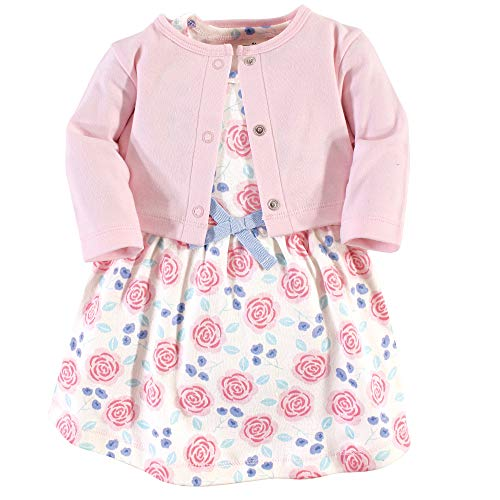 Touched by Nature Girl Baby Organic Cotton Cardigan and Dress, Pink Rose 2 Piece Set, 0-3 Months (3M)