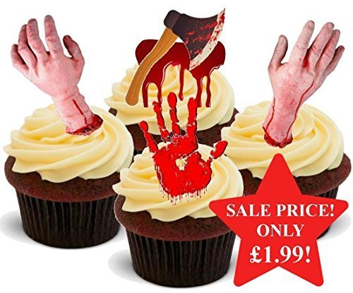 Halloween Bloody Horror Scary Hand Mix - Fun Novelty PREMIUM STAND UP Edible Wafer Paper Cake Toppers Decoration