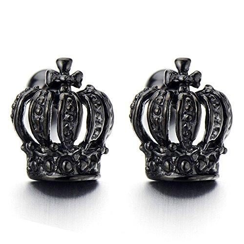 Black Crown Womens Earrings Steel
