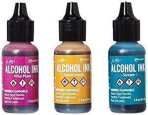 Ranger Adirondack Alcohol Ink 1/2-Ounce, 3-Pack, Nature Walk, Wild Plum/Buttrscotch/Stream