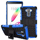 Urvoix For LG G Stylo Case, G4 Stylus LS770 (NOT G4), Hybrid Heavy Duty Dual Layer Shock Proof Rugged Shell Grenade Grip Tyre Kickstand Case Cover Blue