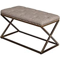 Target Marketing Systems 72318TAU Ollie Upholstered Bench, Taupe Linen with Antique Bronze Nail Head Trim