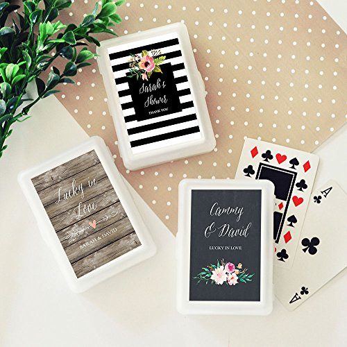 Set of 24 Personalized Floral Garden Playing Cards- wedding and party favor (Playing Cards Wedding Personalized Favors)