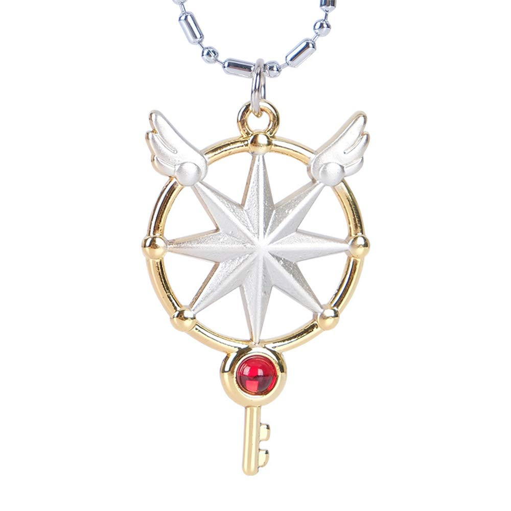 KINOMOTO Magic Star Key Pendant Necklace for Girls Cosplay Wings Necklace KIMO0014-1