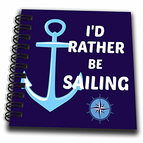 3dRose Id rather be sailing. Anchor, white and blue - Mini Notepad, 4 by 4-inch (db_216261_3)