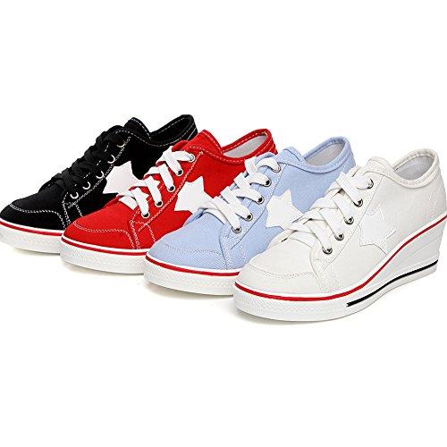 Taille Chaussure Mode Compensé Lacets Sport de Talon Zetiy Sneakers Tennis Fermeture Baskets en Basse Chaussures Femme Toile qwn6Sgx